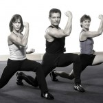 Three person image performing a Lunge Punch